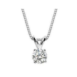 Round Solitaire Diamond Pendant Necklace 0.75 Ct